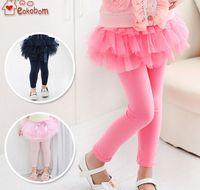 belt leggings - 2015 Spring Autumn Lovely Children pantskirt Elegant Bow Layer Veil Legging For Girls Elastic Belt Pencil Pants For Kids CR176