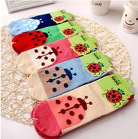 Wholesale Baby Socks Meia Children s Socks Zhuo On Cotton Goods Tongwa Korea Cute Little Ladybug Colored Baby For Men And Women