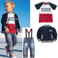 striped pants clothing - Boys Outfits and Sets Babys Kids Clothes Long Sleeve Jacket Coat T shirts Pants jeans sets Autumn Winter outfits and sets ZZ