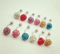 Wholesale Navel Rings New Style Mulit Colors Navel Belly Button Ring Barbell Stainless Rhinestone Crystal Ball Surgical Piercing Body Jewelry Funky
