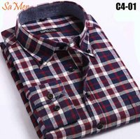 basic flannel - SaMer Long Sleeve Red Mens Flannel Shirts Various Color Western Big And Tall Size Basic Cotton Men Tartan Flannel Shirts