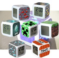 Wholesale Minecraft Design alarm clock Minecraft Creeper clock LED Color Change Digital Alarm Clock Night Colorful Changing toy Christmas gift A0095