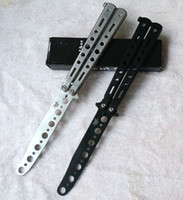 Wholesale PROFESSIONAL Dull METAL Practice BALISONG BUTTERFLY Knife Trainer BLACK and Steel color