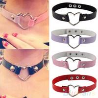 Wholesale Women Men Cool Punk Goth Rivet Heart Shape Leather Collar Choker Necklace KRD