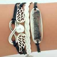 Wholesale Factory G0048 woven DIY bracelet Jewelry angel s wings Bracelet in English character believe Bracelet Valentine s Day Gi