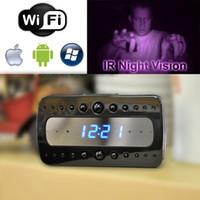 Wholesale 1080P Wireless spy hidden cameras x1080p Black Stealth Spy Clock Enhanced Infrared IR Night Vision Camera DVR