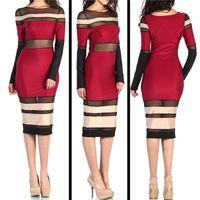 celebrity bandage dress - Hot Sale Stripes Bandage Bodycon Dress Semi Sheer Red Black Patchwork Women Celebrity Party Bandage Dresses pieces