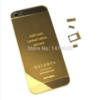 24kt gold - 24K Gold Plating Back Housing Cover Skin Battery Door For iPhone S Mirror Luxury Limited Edition Kt Ct iphone5S Middle Frame