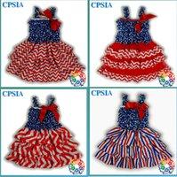 al por mayor vestido de 4 º july niñas-08) el 4to bebé patriótico del bebé 24pcs / lot del vestido del cordón de julio Petti con las correas y la muchacha de los vestidos de los niños de la cinta arropa DHL libera