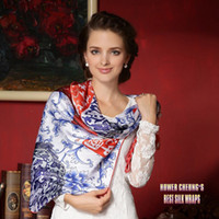 Wholesale New Chinese Style Fashion Girl Winter Square Scarf Shawl Spring Charmeuse Silkwraps Beautiful Printed