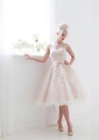 Wholesale 2015 Vintage Beach Wedding Dresses Short Tulle Tea Length House Of Mooshki Bridal Gowns Poppy Cap Sleeves Appliques Bow Ribbon Under new