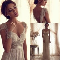Girl sexy wedding dresses - 2015 Sexy V neck Backless Anna Campbell Lace A line Wedding Dresses Beading Plus Size Cap Sleeves Vintage Cheap High Quality Bridal Gowns