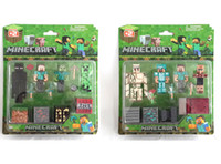 doll boxes - NEW Minecraft PVc Action Figures Collection Model toy dolls minecraft Action Figures DIY Building Blocks Bricks include package box C001