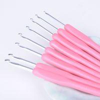 Wholesale 8pcs set Plastic HandleHook Crochet Template Kit Aluminum alloy Knitting Needles For Loom Tool Band DIY Crafts X60 JJ0293W