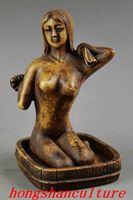 alabaster carving - OLD HANDWORK ALABASTER CARVING NAKED BELLE BATH SEDUCTIVE ELEGANT STATUE WR0462