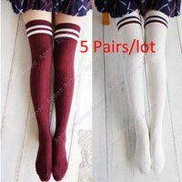 thigh high socks - 5 Pairs Korea New Girls Women s College Wind Slim Thigh High Over knee Socks Stockings SV013824