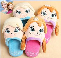 baby home shoes - Suede FROZEN elsa anna cartoon home slippers DAIR QUEEN baby girls slippers Casual shoes princess slippers kids slippers pairs