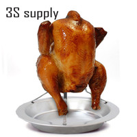 baking pan for chicken - Stainless Steel Upright Beer Chicken Holder Chicken Roaster Rack Silver Baking Pan Grilled Roast Rack For Outdoor Camping amp