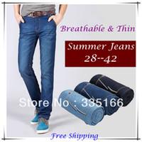 cheap jeans for men - Cheap Fast Men Jeans Blue Black Plus Size Slim Fit Breathable Thin Denim Jeans For Summer JM09512