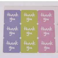 Wholesale Thank You Stickers Square Stickers pink green purple Thanks You Labels sheets