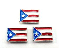 puerto rico - 20PCS Enamel Puerto Rico Flag Floating Charms DIY Alloy Accessories Fit For Magnetic Glass Locket