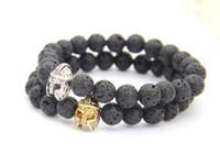 Wholesale New Design mm Black Lava Energy Stone with Roman Warrior Helmet Bracelet Fashion Spartan Jewelry for Mens Gift