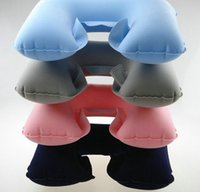 Wholesale 300PCS HHA86 Travelling super light in1 U shape neck support and protection pillow soft Inflation travel pillow Double layer U pillow