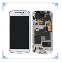 i9195 - original For Samsung Galaxy S4 Mini i9190 i9195 Lcd display Touch Screen Digitizer Frame Assembly Complete White Blue DHL