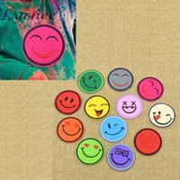 Wholesale 12 Colors Cute Smiley Face Iron On Embroidered Sew On Patch DIY Clothes Bag Set