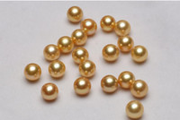 Wholesale ROUND NATURAL gold shell LOOSE PEARL AAA MM HALF DRILLED