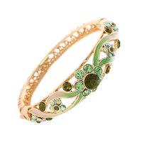 achat en gros de la mode verte nationale-Le nouveau bracelet de cloisonne vert national Bracelet d'artisanat d'émail 18 k avec boîte exquise