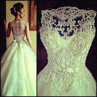Cheap Elegant 2015 Wedding Dresses Bateau White Real Image Beads Lace Hollow Ball Gown Sweep Train White Bridal Dress
