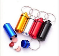 Cheap Mini Aluminum Pill Medicine Box Best Bottle Holder Container Keychain Key Cha