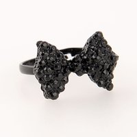 adorable rings - Fashion Adjustable Black Adorable Bowknot Charming Rhinestone Crystal Ring Girl Lady Party Gift