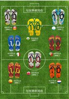 Wholesale Mens High Quality PE Rubber Brazil Design World Cup Football Summer Beach Flip flops Slippers S M L Fedex DHL