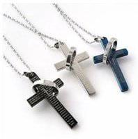 bible colors - Titanium stainless steel bible cross Pendant Necklaces for Men women necklace Fashion Jewelry christmas gift colors