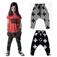 Wholesale 2015 Autumn Kids Children Harem Pants Boys Girls Cross Printed Long Pants Kids Clothing