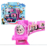 Wholesale 2015 Children Cartoon Froze Print Track Train Set Kids Girls Princess Queen Pink Railway Sets Trains For Ages Kid Baby Toys Toy