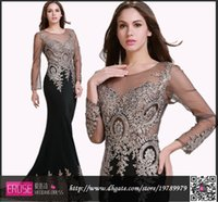 long sleeve dresses - Sheer Long Sleeve Formal Evening Dresses Real Red Evening Gown Crew Mermaid Black Prom Dresses Appliques Celebrity Party Dress