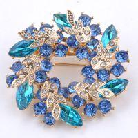Wholesale 2014 Hot Sale Fashion Colors Ladies Flower Rhinestone Crystal Alloy Redbud Bouquet Brooch Pin X MPJ080