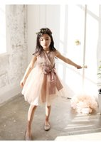 cotton tunic - 2016 new princess girls dress sleeveless baby girl dresses big bow waist tunic tutu dress with pearl necklace girls party dress kids clothes
