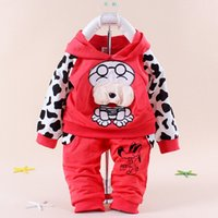 free shipping clothes - Spotted dog baby children s clothing boy girls sport suits color Black blue red yellow Baby Clothing Set