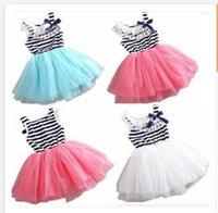 Wholesale Hot Sale New girls dresses girls clothes dress lace stripe TUTU dress baby girl dress children clothing children dress R000201