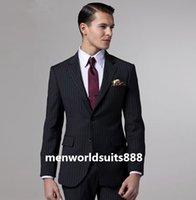best streaks - High Grade Black Streaked Groom Tuxedos Two Buttons Groomsman Best Man Wedding Suit Morning Style Formal Suits Jacket Pants Tie