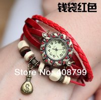 antique purse watches - by DHL Genuine Leather Hand Knit Vine Watches with diamond bracelet table Wristwatches purse Pendant