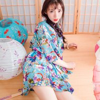 Wholesale Wedding Summer Style Bathrobe Silk Robes Satin Robes Womens Pijamas Print Color Flowers Blue Colorful Short Kimono Robe Silk Dressing