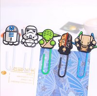 Wholesale 100pcs New Arrival Cartoon Star Wars Silicone Paper Clip Black Knight Darth Vader Yoda Bookmarks Decorative Filling Paper Clip