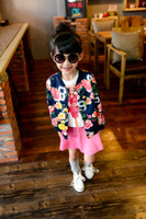 baseball jackets for sale - 2015 Autumn Hot Sale Girls Flower Printed Jacket Children Coat Baseball Clothes For Kids Fit Age SS269