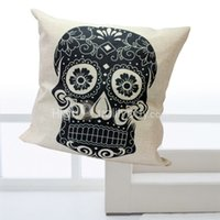 Cheap Vintage Black Skull Cushion Bed Car Sofa Throw Pillow Case Cover Room Home Decor