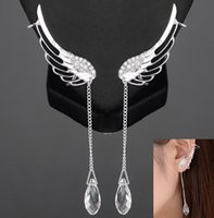 Wholesale New Arrival Personality Punk Wedding Jewelry Fashion Silver Wings Earrings With Pendant Ear Cuff Clip Earrings For Women JE06306